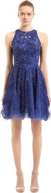 Floral Beaded Tulle Dress