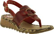 Tune Leather Wedge Toe Post Sandals