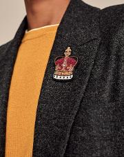 Embroidered Crown Pin Multi Os