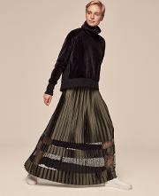 Lace Insert Pleat Skirt