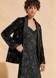 Sequin Satin Tux Blazer