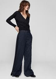 Pinstripe Wide Leg Belted Pant