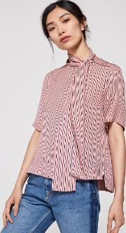 Side Pussybow Silk Blouse Pink Stripe 14