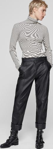Slim Crop Leather Trousers