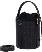 Santina Mini Bucket Bag Black Woven