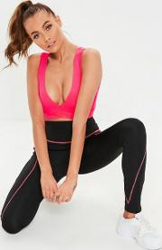 78d9616804382 Active Black Pink Contrast Stitch Leggings. missguided