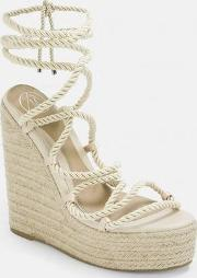 Beige Rope Lace Jute Wedges