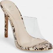 Beige Snake Print Clear Pointed Mules