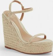 Beige Two Strap Jute Wedges