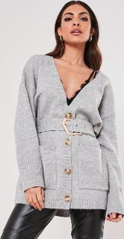 Belted Slouchy Knitted Cardigan