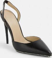 Black Ball Trim Slingback Court Heels