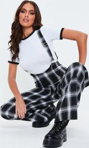 Black Check Dungaree Trousers