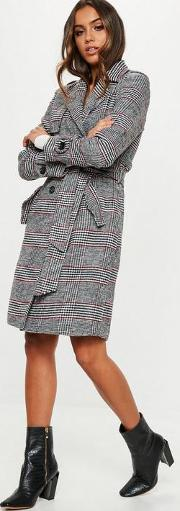 Black Check Formal Belted Trench