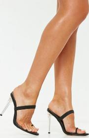 Black Clear Toe Post Barely There Mules