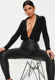 Black Deep Plunge Neck Wrap Bodysuit