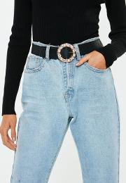 Black Diamante Circle Buckle Belt