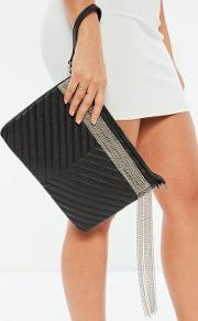 Black Faux Leather Quilted Chain Fringe Clutch Bag