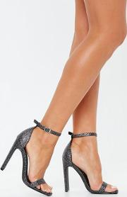Black Glitter Square Toe Barely There Heels