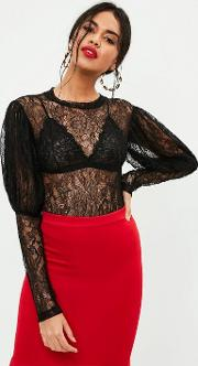 Black Lace Puff Sleeve Bodysuit