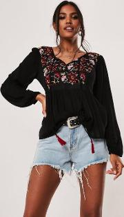 Black Long Sleeve Peasant Embroidery Top