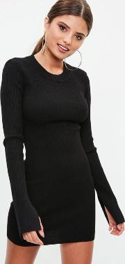 Black Long Sleeve Ribbed Knitted Bodycon Dress