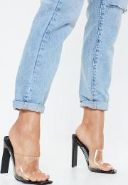 Black Patent Square Toe Clear Heels