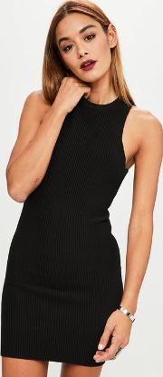 Black Ribbed Knitted Dress