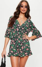 Black Ruffle Sleeve Floral Plunge Playsuit