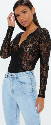 Black Sheer Lace Deep Plunge Wrap Over Bodysuit
