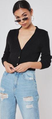 Black Skinny Ribbed Knitted Cardigan