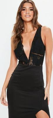 Black Trim Insert Plunge Neck Bodysuit