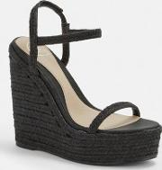 Black Two Strap Jute Wedges