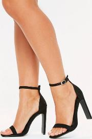 Black Wide Fit Square Barely There Heels