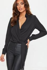 Black Wrap Over Tie Side Blouse