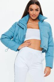 Blue Crop Oversized Puffer Jacket