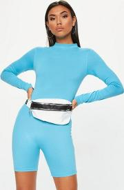 Blue High Neck Long Sleeve Unitard