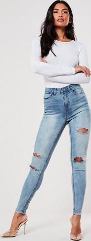Blue High Waisted Authentic Ripped Skinny Jeans