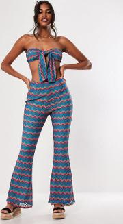 Blue Multi Chevron Crochet Flare Co Ord Trousers
