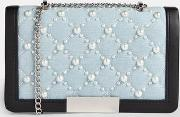Blue Pearl Quilted Cross Body Bag