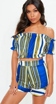 Blue Striped Frill Co Ord Set