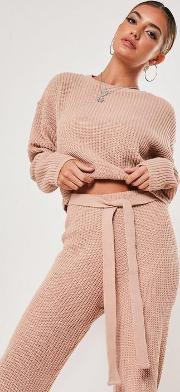 Blush Co Ord Super Cropped Knitted Jumper