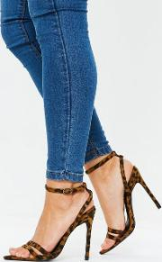 Brown Leopard Print Point Toe Barely There Heels