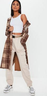 Brown Snake Check Faux Leather Trench Coat
