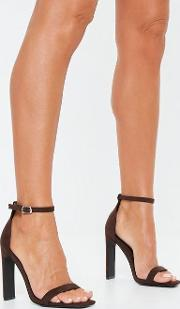 Brown Square Toe Barely There Heels