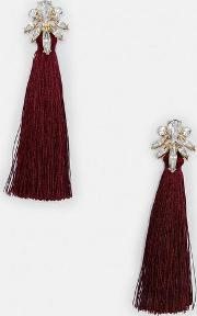 Burgundy Tassel Crystal Flower Top Earrings