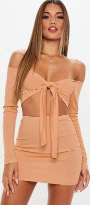 Camel Ribbed Mini Skirt And Tie Front Top Co Ord