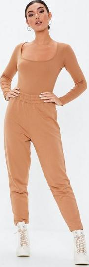 Camel Ribbed Scoop Front Bodysuit