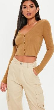 Camel Wooden Button Front Long Sleeve Crop Top