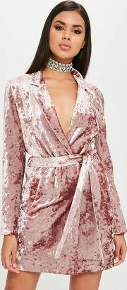 Carli Bybel X Missguided Pink Crushed Velvet Wrap Dress