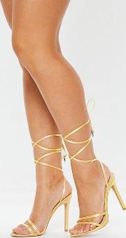 Chartreuse Satin Lace Up Barely There Heeled Sandals